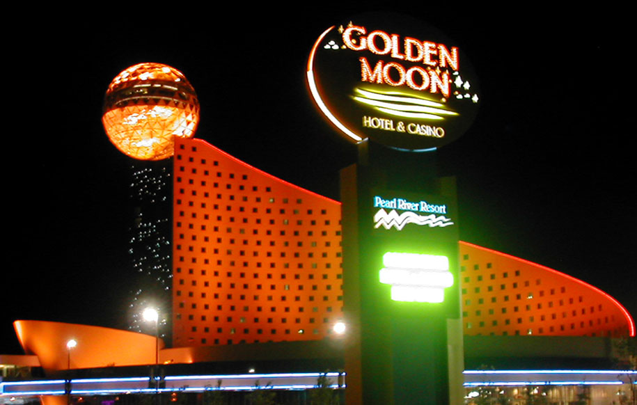 Golden Moon exterior monument at night
