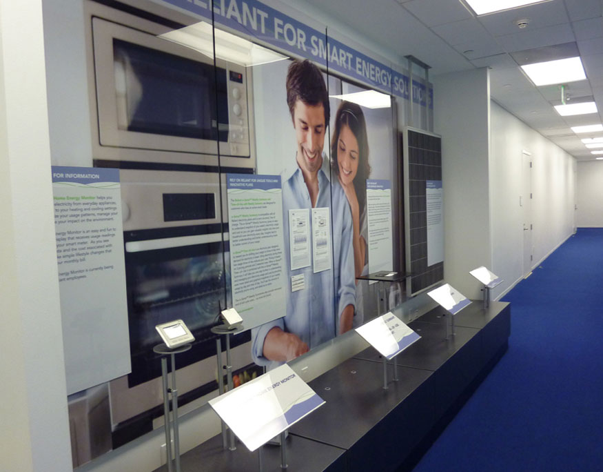 NRG display wall with interactive elements